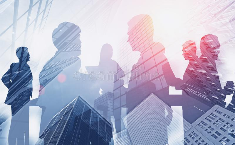Business team communicating in city stock images