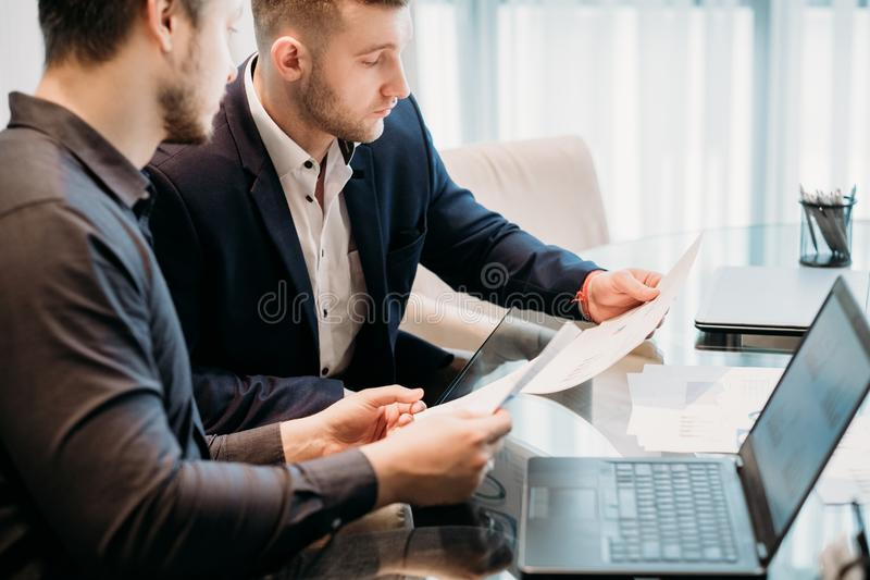 Business team communication document review royalty free stock photo