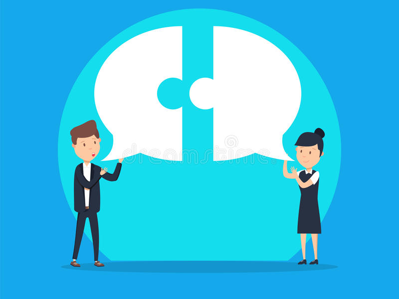 Business team communication with speech bubble. Concept business vector illustration