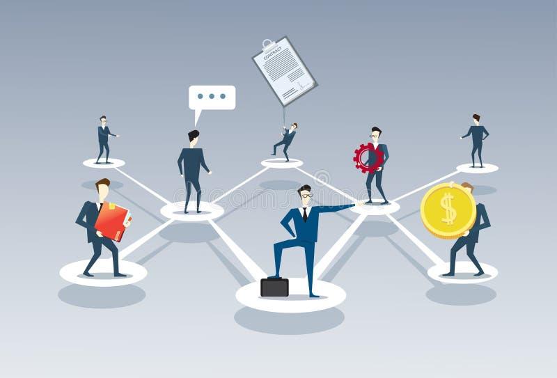 Business Team Company管理组织系统图买卖人小组人配合连接概念 库存例证