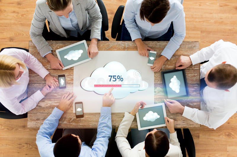 Business team with computers cloud computing stock photography