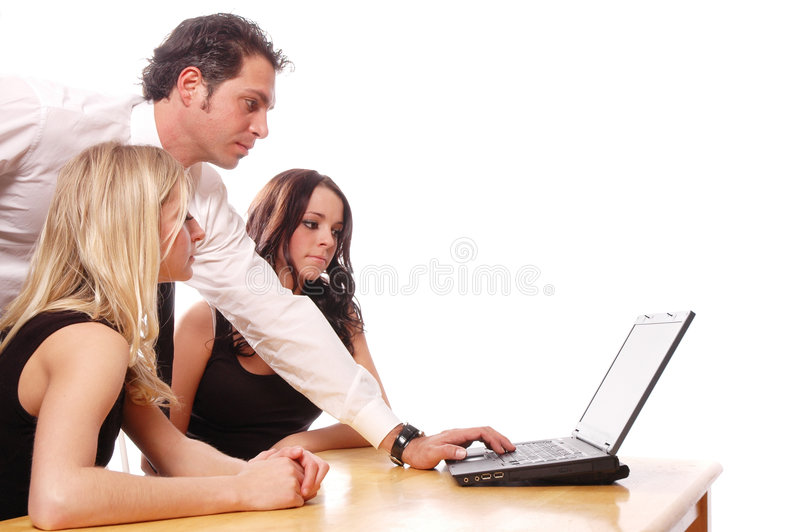 Business team concept. Business team members are having a meeting stock photo