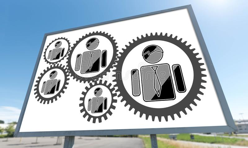 Business team concept on a billboard. Business team concept drawn on a billboard royalty free stock photos