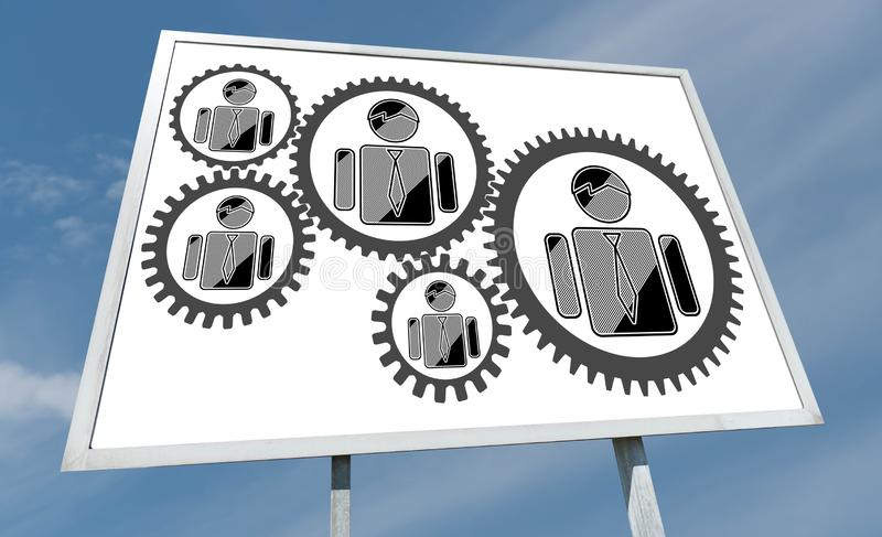 Business team concept on a billboard. Business team concept drawn on a billboard stock image