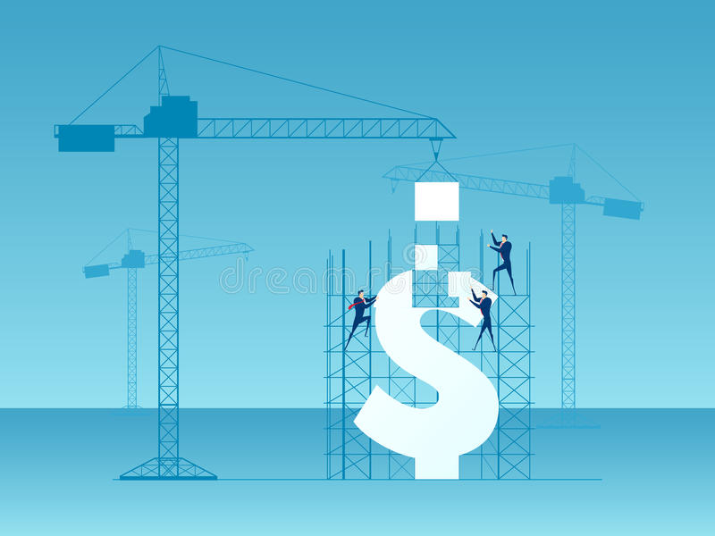 Business team construction crane and building money. Investment and success concept. Cartoon Vector Illustration stock illustration
