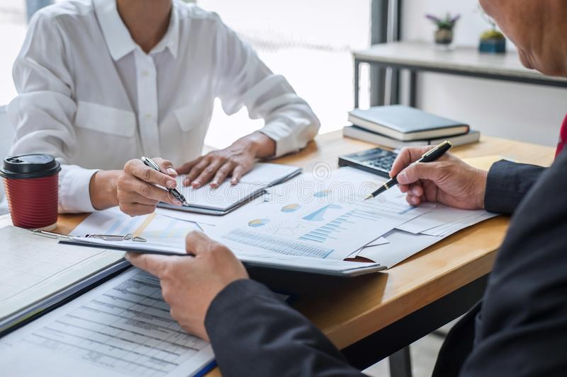 Business team consultant working with new startup growth project plan and discussion analyzing for financial strategy statistics royalty free stock photos
