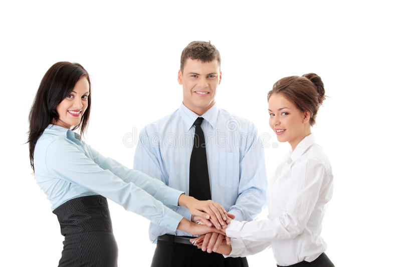 Business team cooperation. Isolated on white royalty free stock image