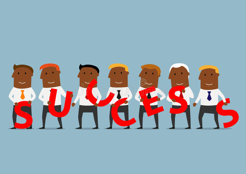 Business team creating a success concept. Power of teamwork, successful partnership and cooperation business concept. Cheerful african american business team vector illustration
