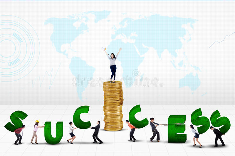 Business team creating word of success royalty free stock image