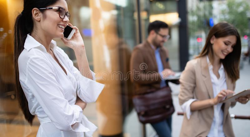 Business team digital device technology connecting concept royalty free stock images