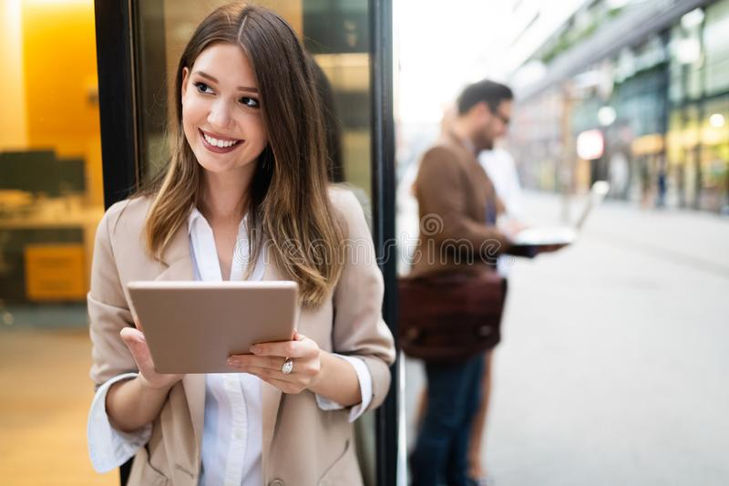 Business team digital device technology connecting concept stock image