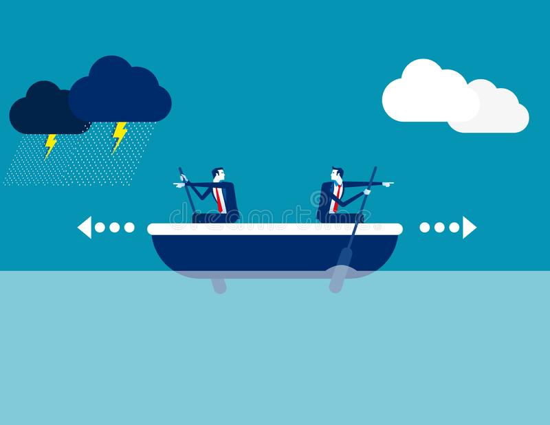 Business team and direction. Concept business direction vector illustration, Boat, Challenge, Risk royalty free illustration