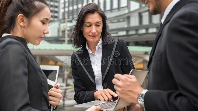 Business team discuss project plan in city royalty free stock image