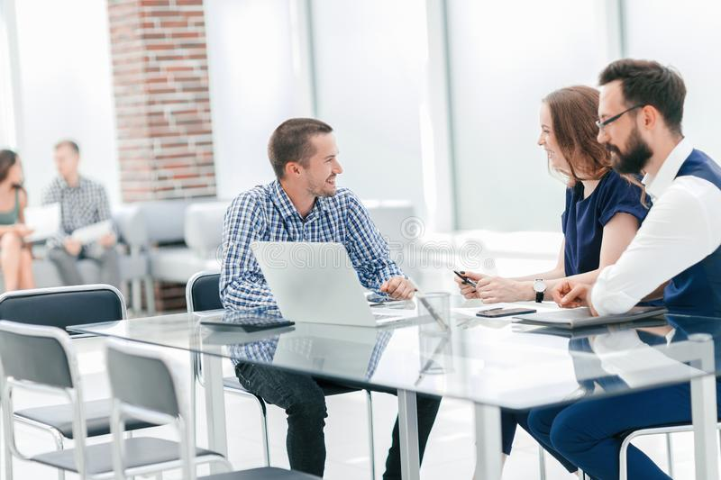 Business team discusses ideas for a new business project stock photos
