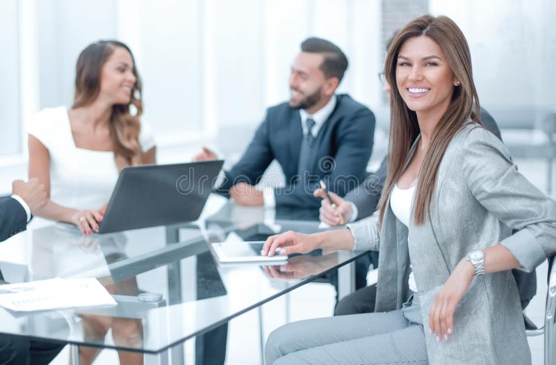 Business team discusses new ideas at a business meeting stock photos