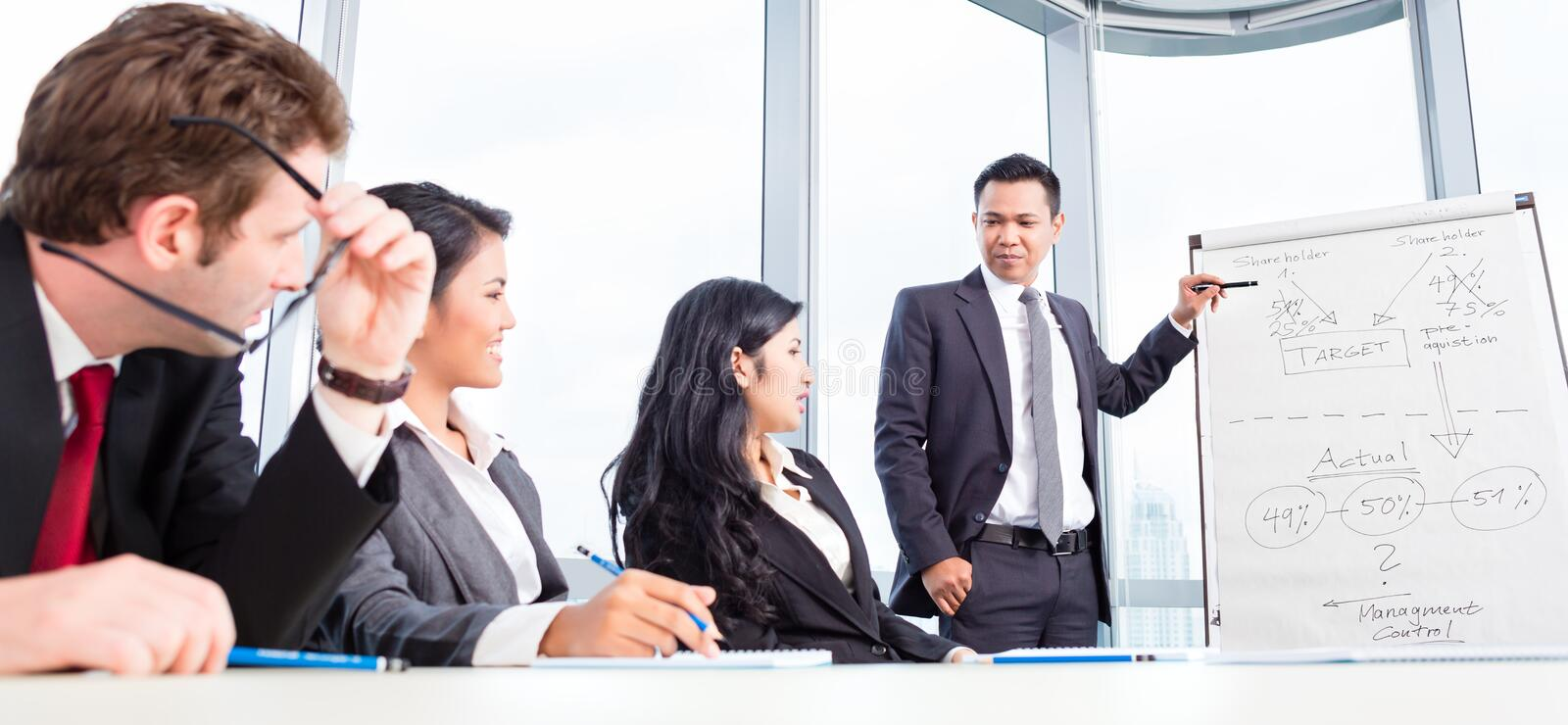 Business team discussing acquisition in meeting stock photography