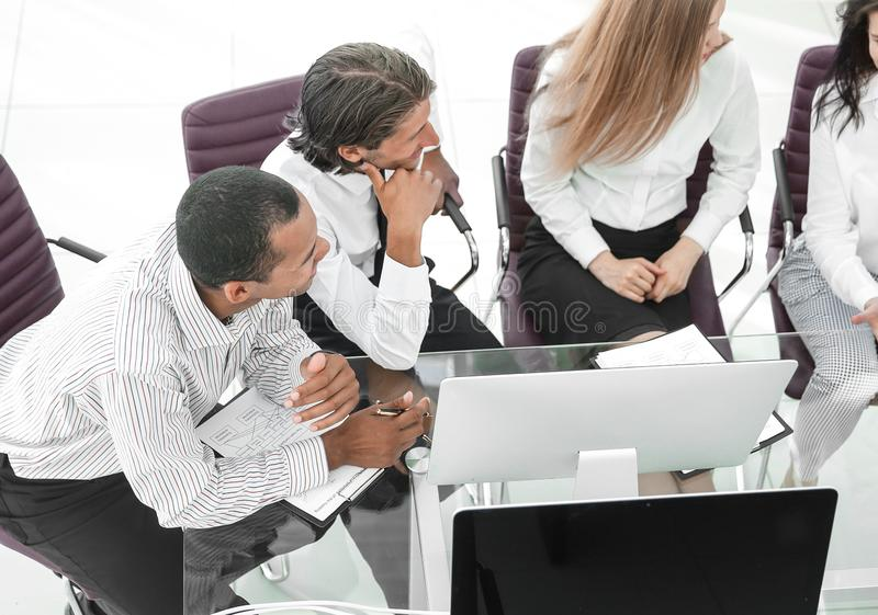 Business team discussing a business document.the business concept. royalty free stock photo