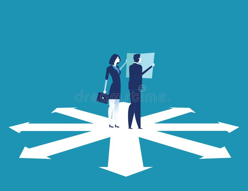 Business team are discussing on the direction to success. Concept business vector illustration stock illustration