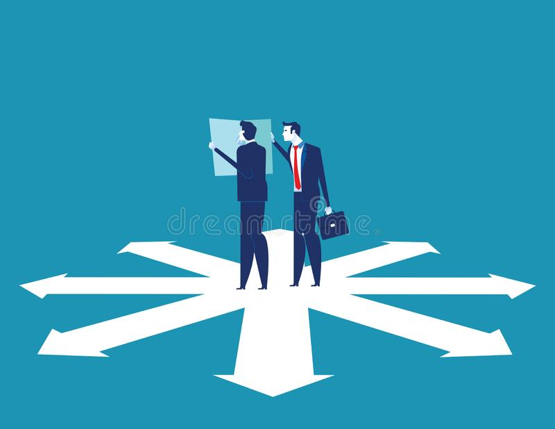 Business team are discussing on the direction to success. Concept business vector illustration vector illustration