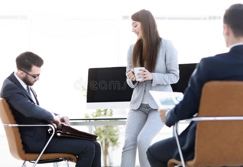 Business team discussing financial documents. stock photo