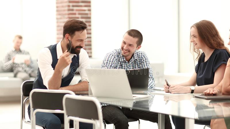 Business team discussing ideas for a new startup stock image
