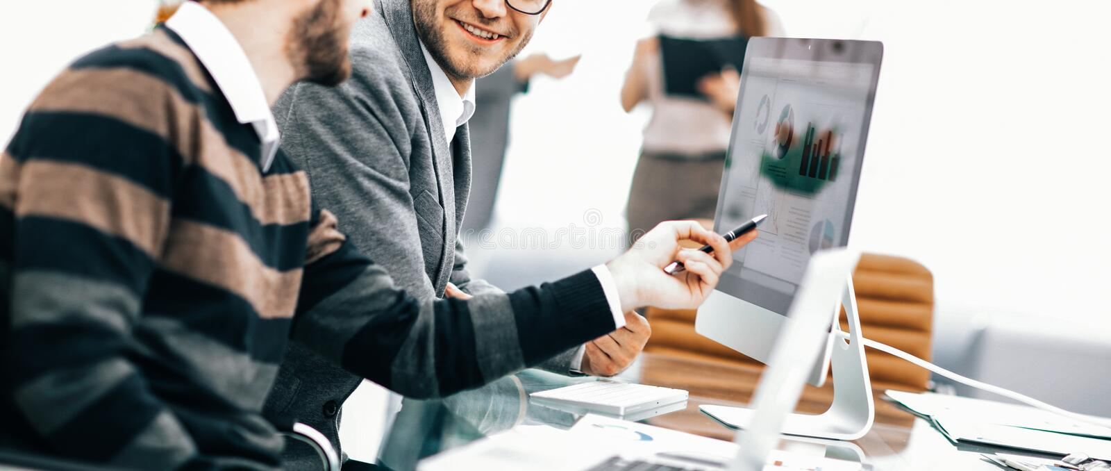 business team discussing marketing schemes in the workplace on royalty free stock photos