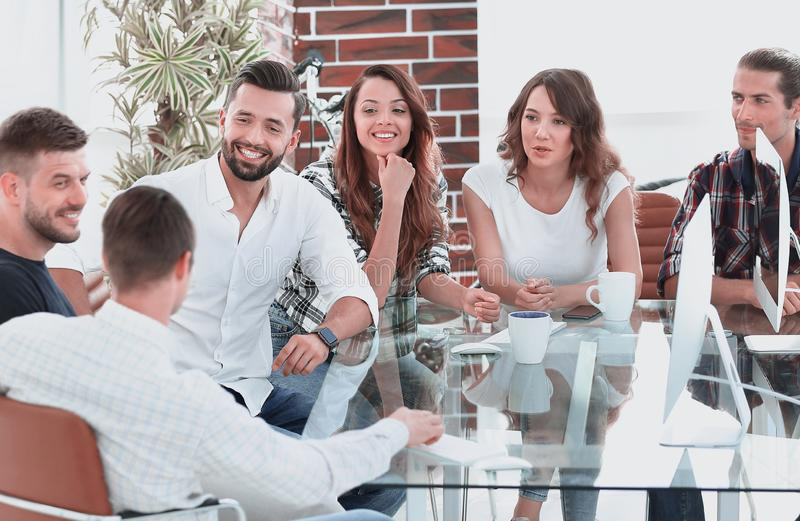 Business team discussing at the meeting royalty free stock photo