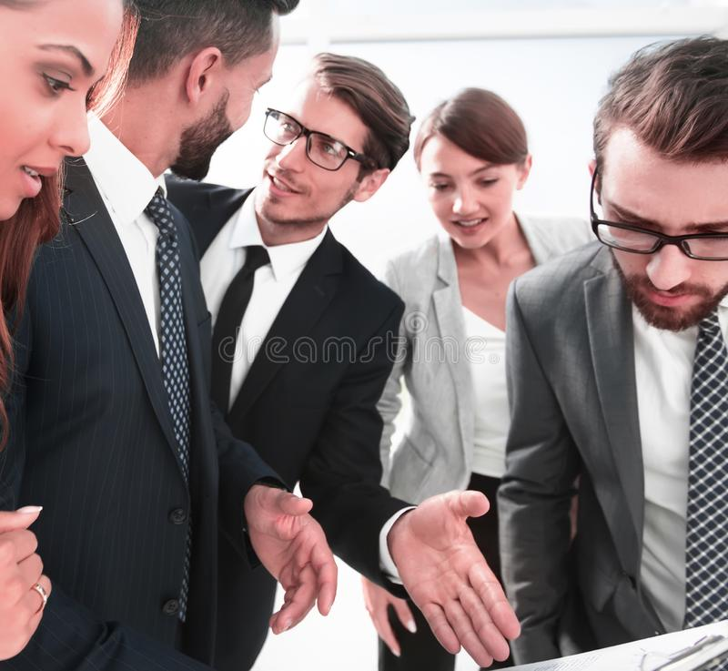 Business team is discussing a new business plan. The concept of teamwork stock image