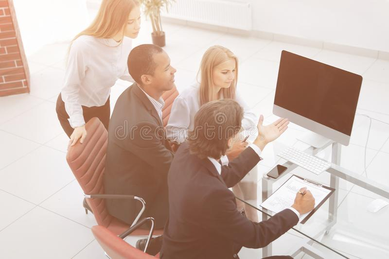 Business team discussing a new business plan royalty free stock photos
