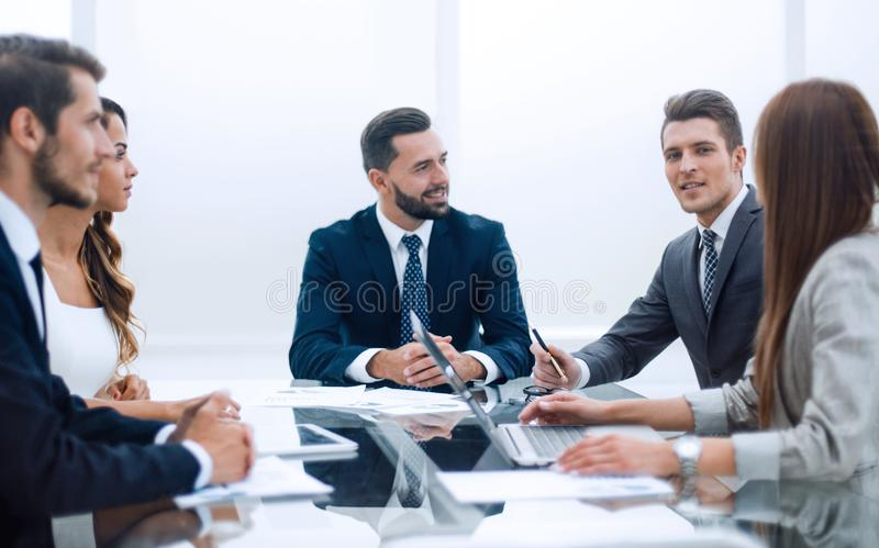 Business team discussing new financial project stock images