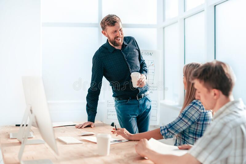 Business team discussing new ideas. the concept of teamwork stock images
