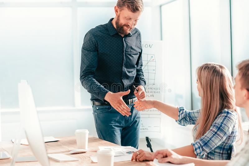 Business team discussing new ideas at a meeting in the office stock photos