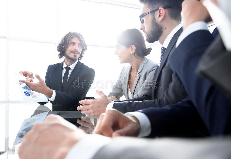 Business team discussing a new presentation. Photo with copy space stock photos