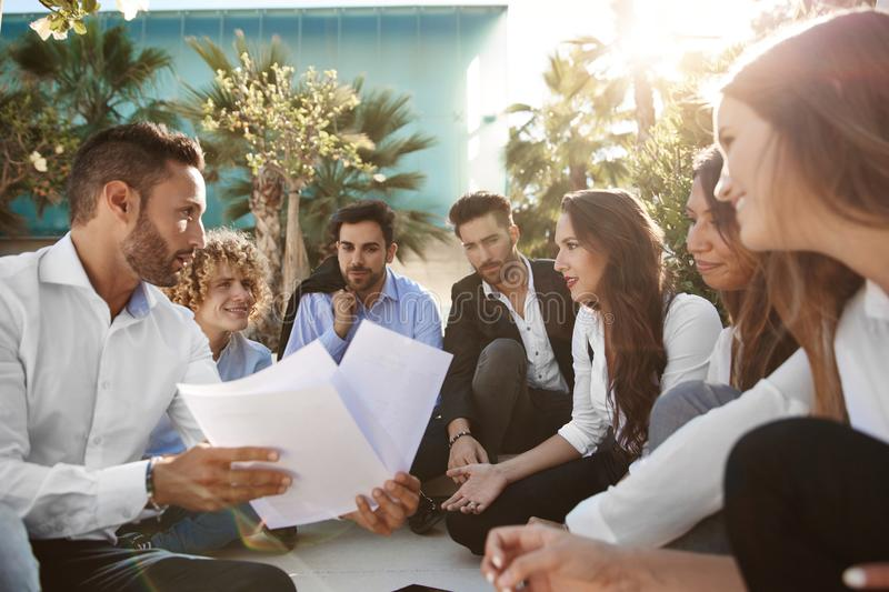 Business team discussing outside royalty free stock photo