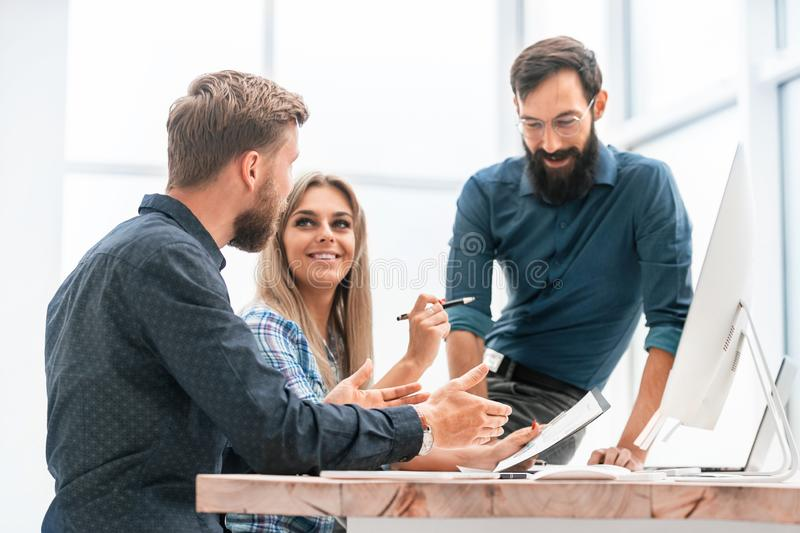 Business team discussing business plan at office meeting royalty free stock photos