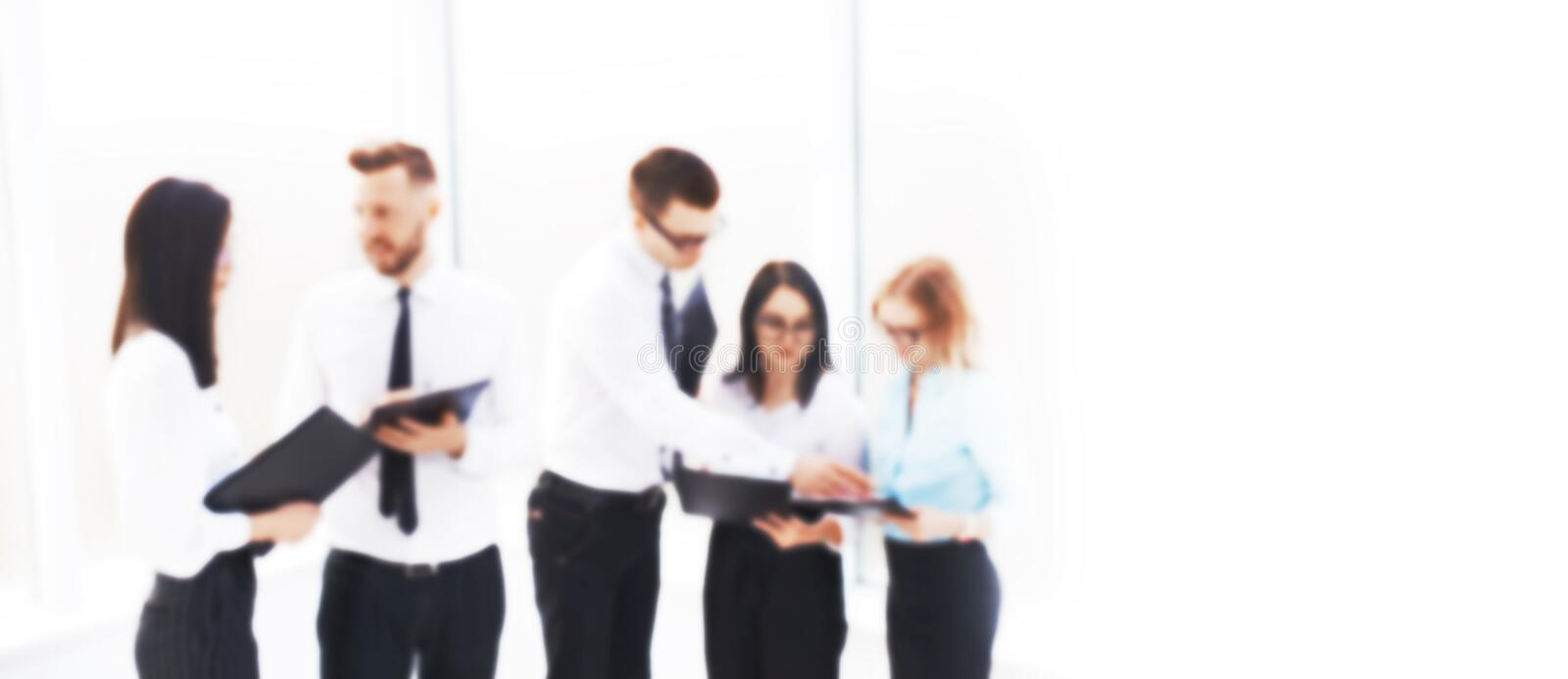 Business team discussing the work plan before the meeting. blurred image for the advertising text. photo with copy space royalty free stock photos