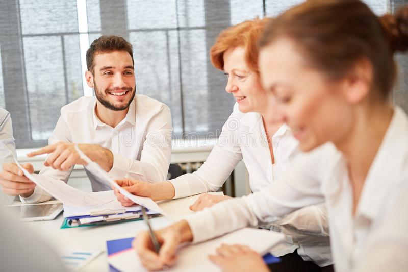 Business team in a discussion. About further finance planning royalty free stock photography