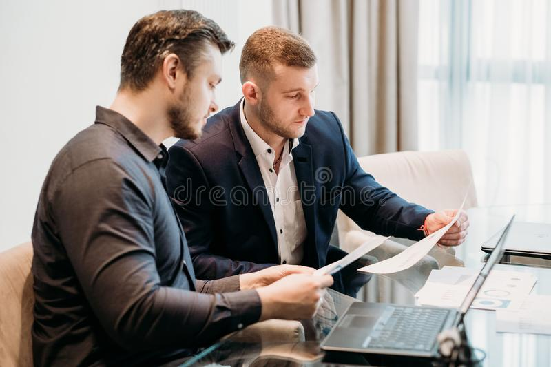 Business team discussion office workspace stock images