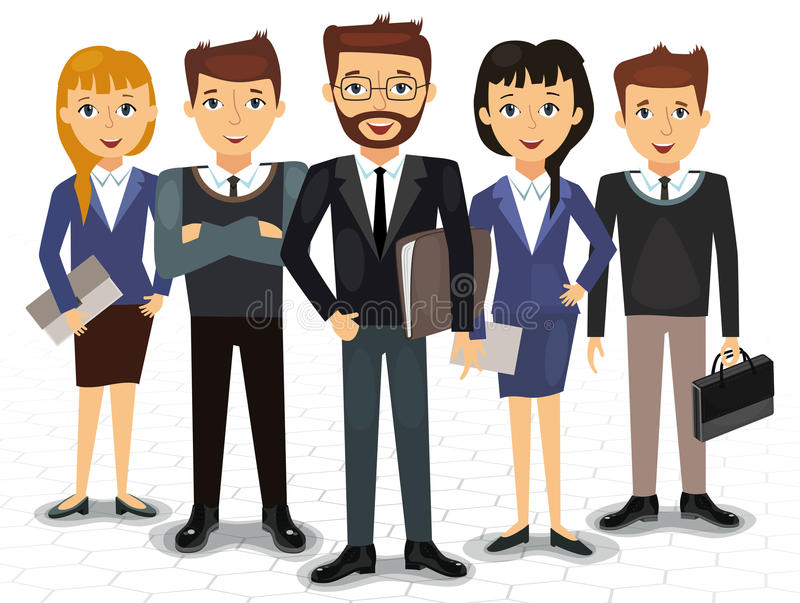Business team of employees and the boss vector. Illustration vector illustration