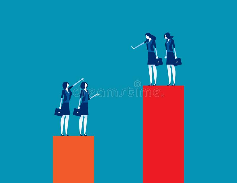 Business team envy another people team. Concept business vector illustration, Growth, Development, Contemplation royalty free illustration