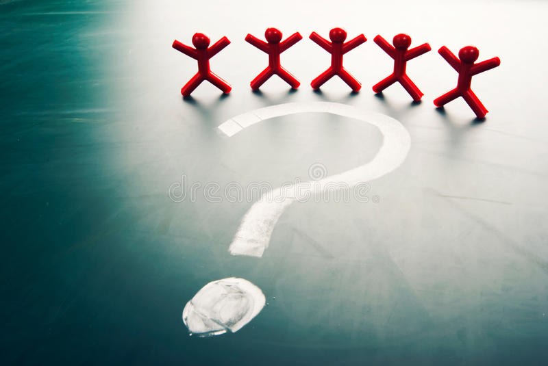 Business team face question mark royalty free stock photos