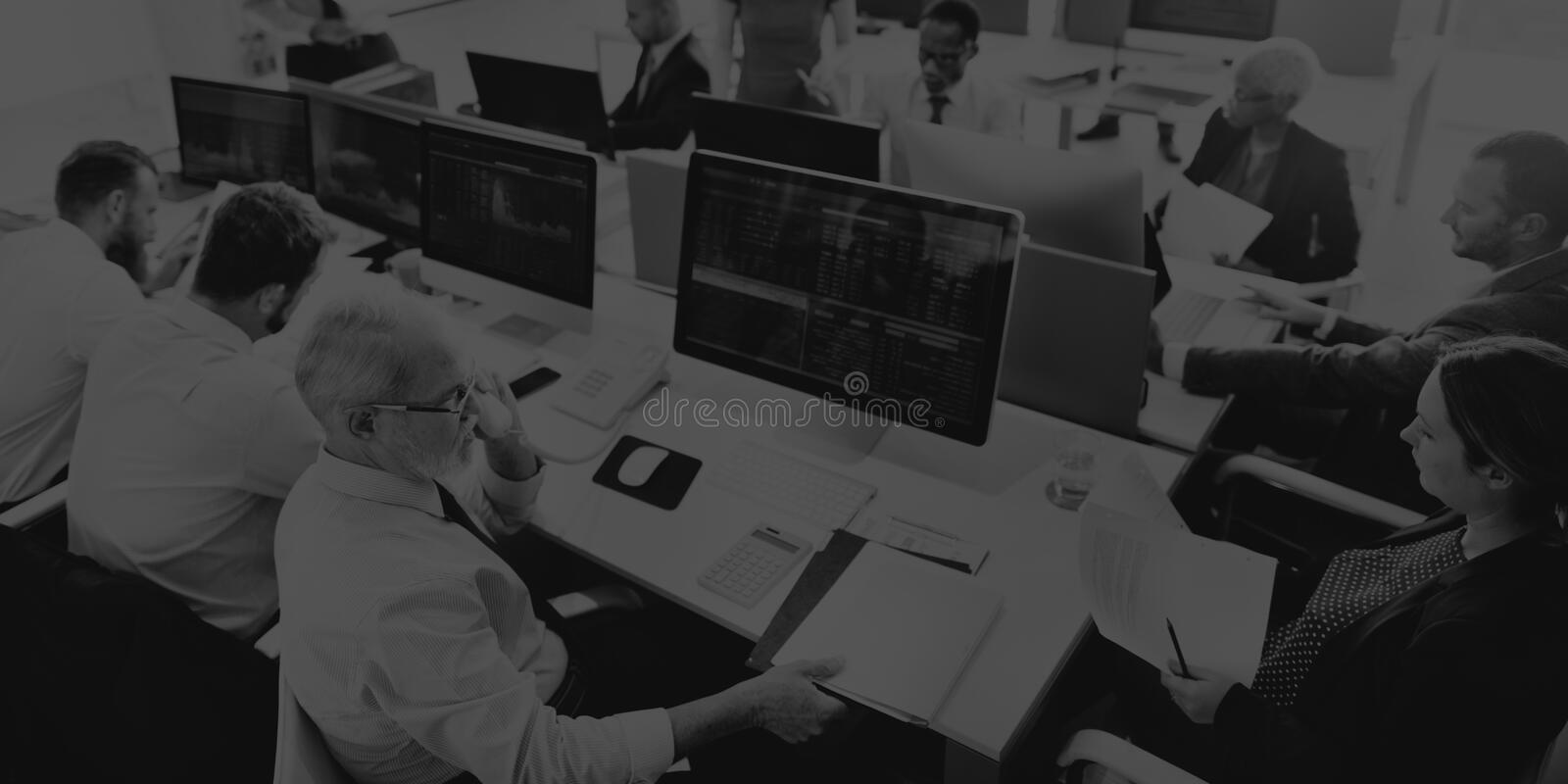 Business Team Finance Stock Exchange Busy Cocnept stock photography