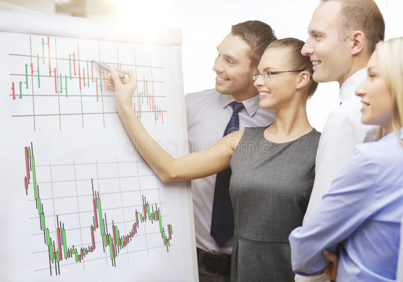 Business team with flip board having discussion. Business, money and office concept - smiling business team with forex chart on flip board having discussion royalty free stock photos