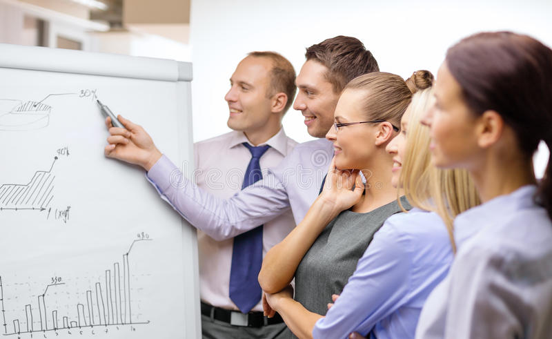 Download Business Team With Flip Board Having Discussion Stock Photo - Image: 37153906