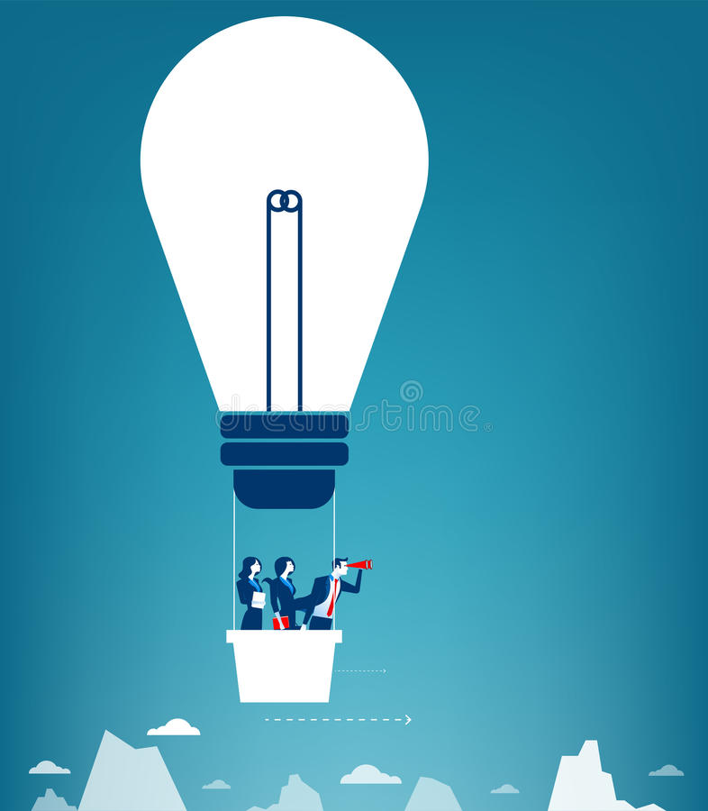 Business team flying in the sky on hot air balloon. Looking over vector illustration