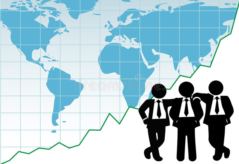 Business team global win success graph map vector illustration
