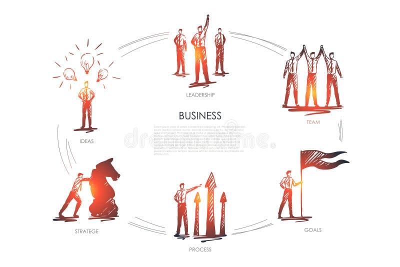 Business, team, goals, stratege, ideas, leadership vector set. Business, team, goals, stratege, ideas, leadership concept vector set vector illustration