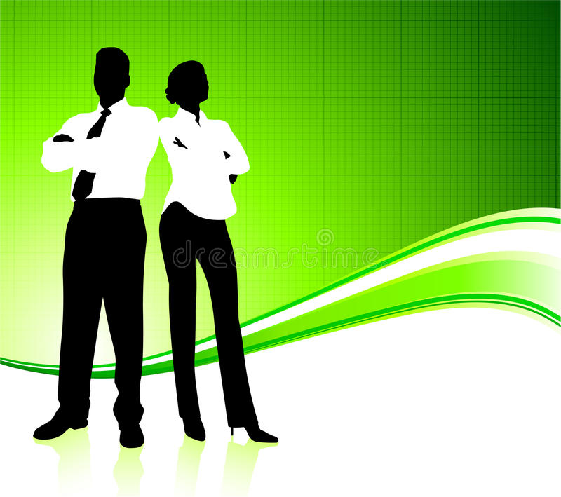 Business team on green environment background royalty free illustration