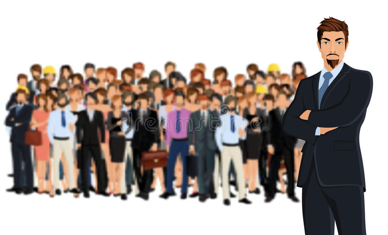 Business team group. Large group of people adult professionals business team with attractive young man on foreground vector illustration vector illustration