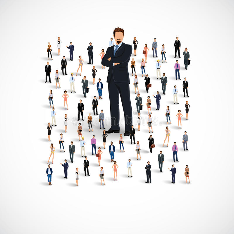 Business team group. Group of people adult professionals business team with huge figure of young man vector illustration vector illustration